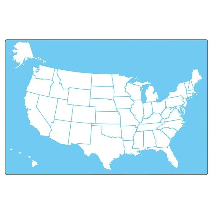 Flipside Products US Map TwoSided Wall Mounted Dry Erase Board