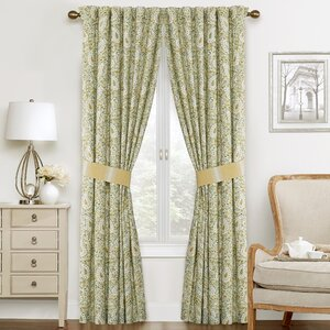 Paisley Verveine Paisley Semi-Sheer Rod Pocket Curtain Panels (Set of 2)