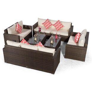 Villatoro Brown Rattan 2 X 3 Seat Sofa + 2 X 2 Seat Sofa & 2 X Rectangle Coffee Table, Outdoor Patio Garden Furniture By Sol 72 Outdoor