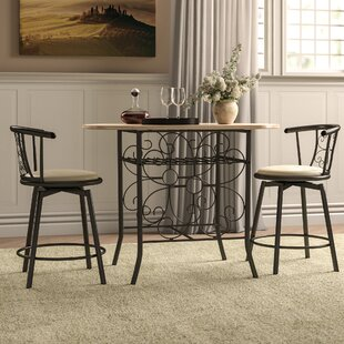Askerby Scroll Design Bistro 3 Piece Dining Set (Set of 3) by Fleur De Lis Living