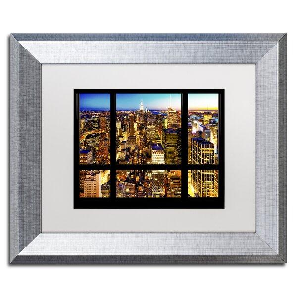 Trademark Art Night View Of Manhattan Framed Photographic Print Wayfair