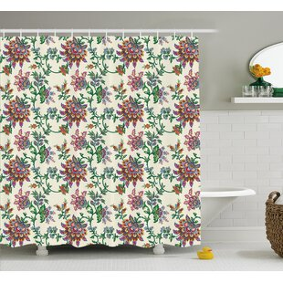 Burnes Retro Indian Flowers Single Shower Curtain