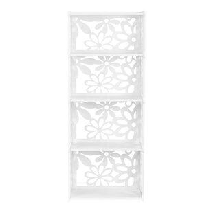 Bounds 4-Tier Modular Flower Cut-Out Wood Plastic Composite Standard Bookcase by House of Hampton Cool