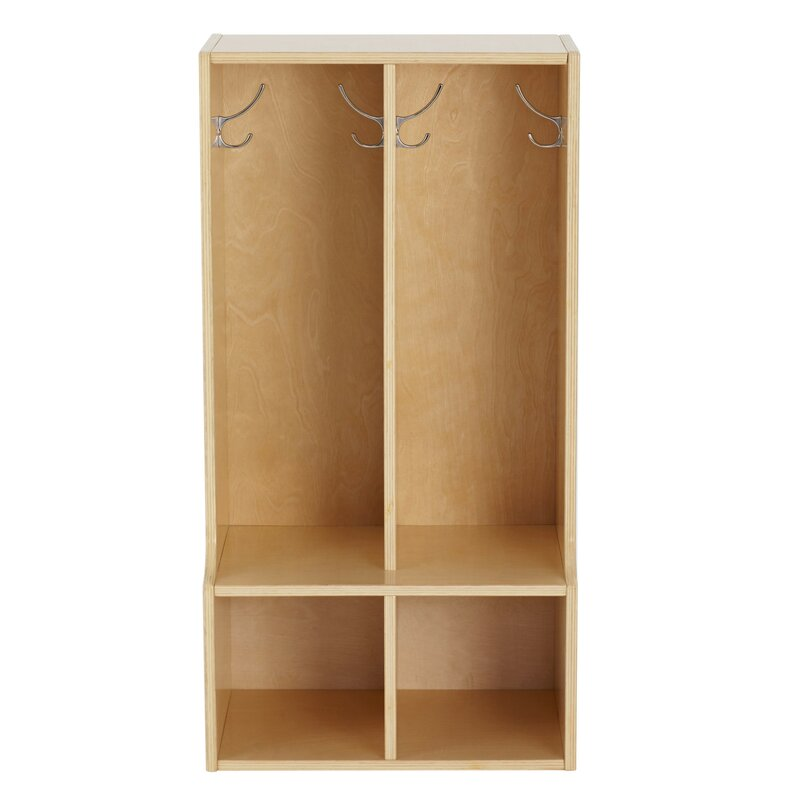 Birch Streamline 2 Section Coat Locker With Bench