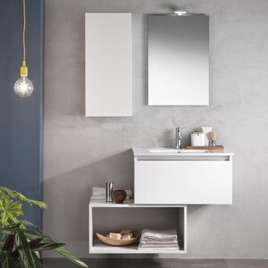 Urban Designs 107 cm Wandmontierter Waschtisch Tuvalu mit Spiegel, Armatur und Schrank
