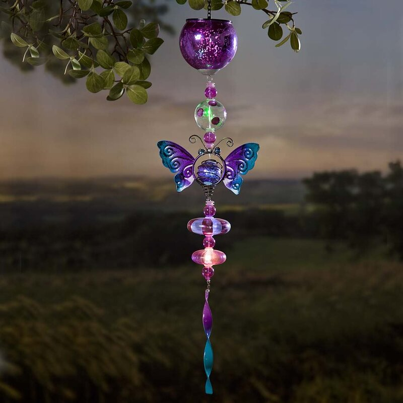Solar Mercury Glass Butterfly Mobile Wind Chime