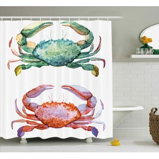 Buckner Crabs Watercolor Style Effect Sea Animals Theme Pattern Illustration of Crabs Print Single Shower Curtain
