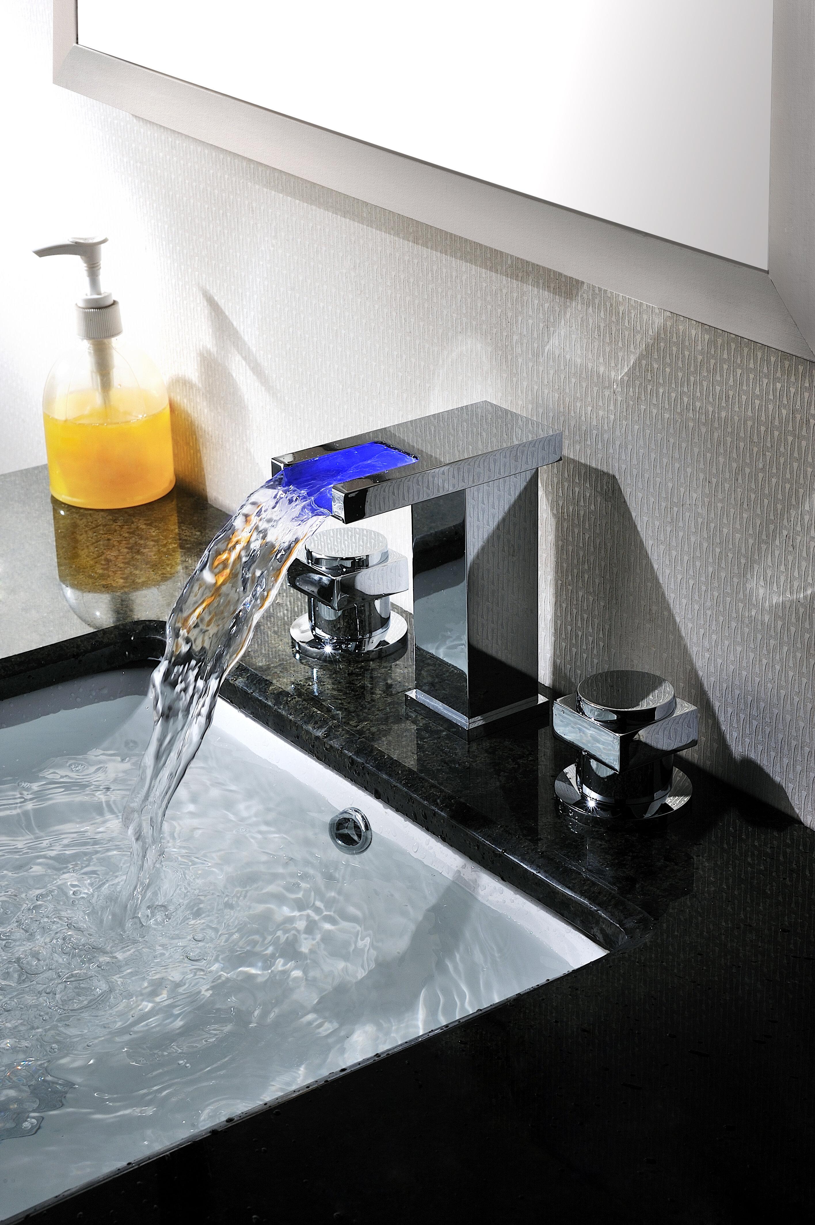 Sumerain Widespread Led Waterfall Bathroom Sink Faucet Reviews Wayfair
