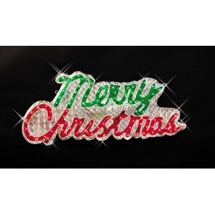 sparkling holographic merry christmas outdoor decoration lighted display