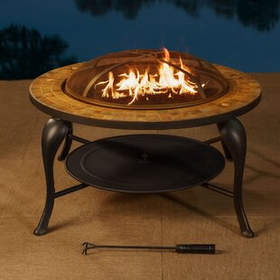 Sunjoy Valley Forge Cast Iron/Steel Wood Burning Fire Pit Table