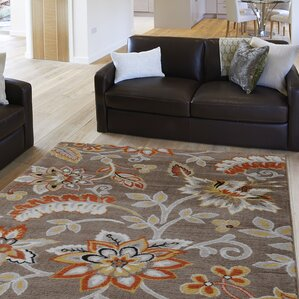 Sammy Taupe Yellow Floral Hand Tufted Area Rug