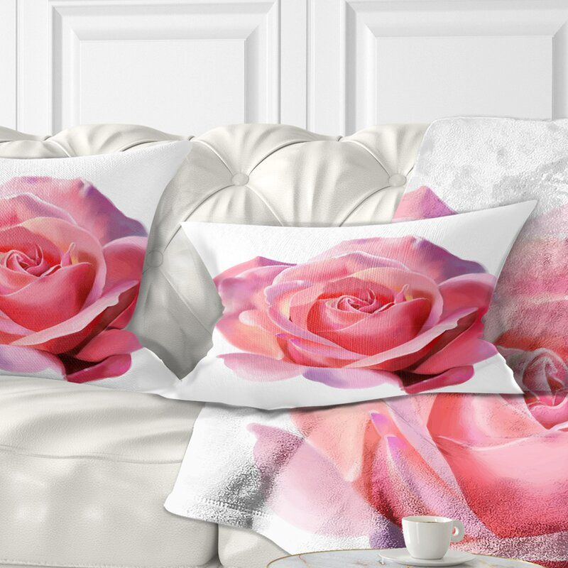 East Urban Home Flowerswork Rose Sketch On Background Lumbar Pillow Wayfair