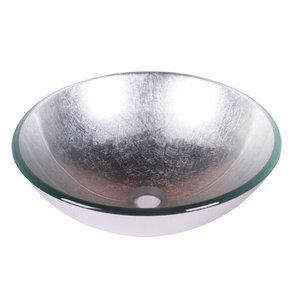 Foil Tempered Glass Circular Vessel Bathroom Sink
