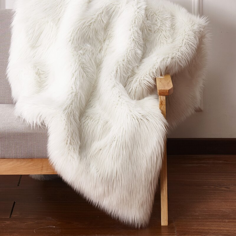 Mercer41 Maria Hand-Woven Faux Fur Ivory Area Rug