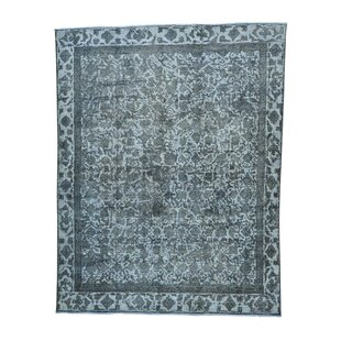 One-of-a-Kind Overdyed Vintage Hand-Knotted 9' x 11'7 Wool Gray/White Area Rug 1800GETARUG