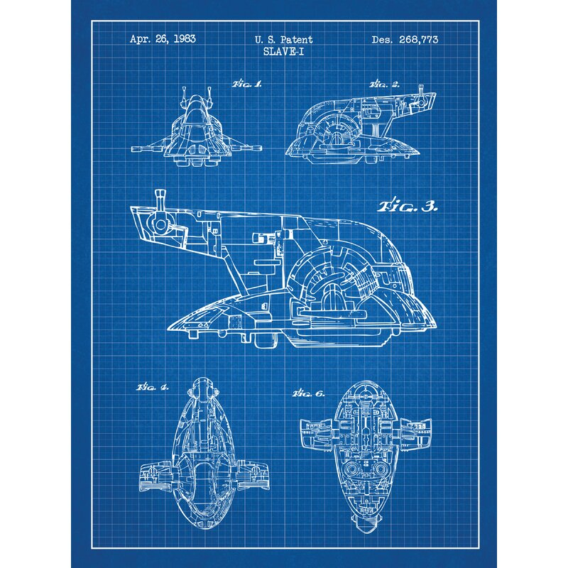 Voorkeur Williston Forge 'Star Wars Slave-I' Blueprint Graphic Art in Blue @BB79