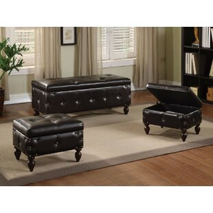 Pridmore Faux Leather Storage 3 Piece Bench Set by