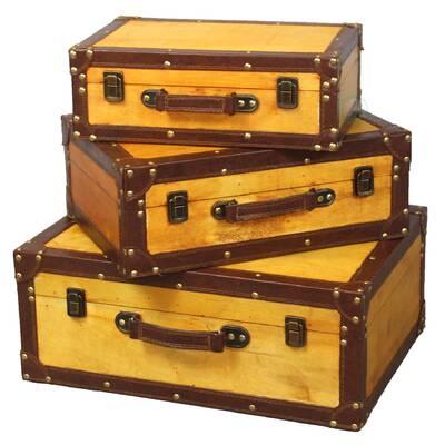 Peabody 3 Piece Old Vintage Trunk Set