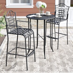 Three Posts Snowberry 3 Piece Wrought Iron Bar Height Bistro Patio Set