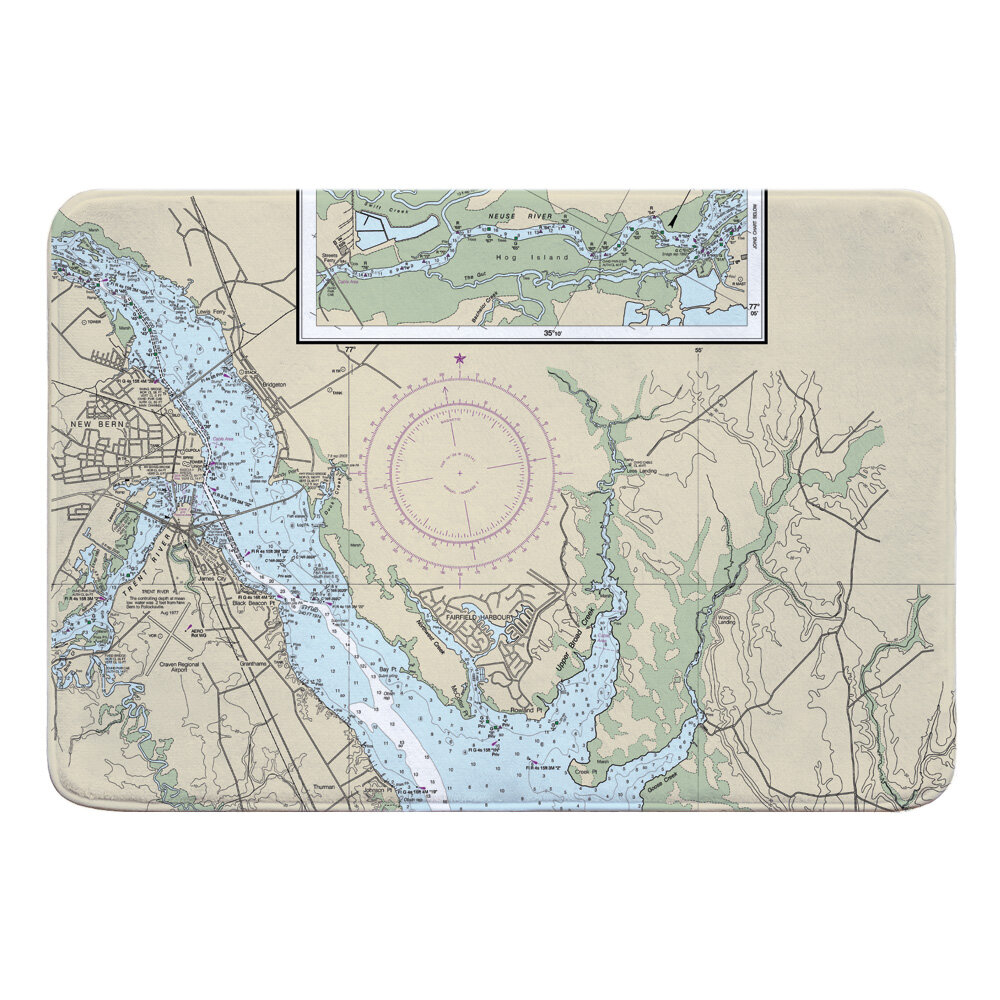 Breakwater Bay Nautical Chart New Bern Nc Rectangle Memory Foam Non Slip Bath Rug Wayfair