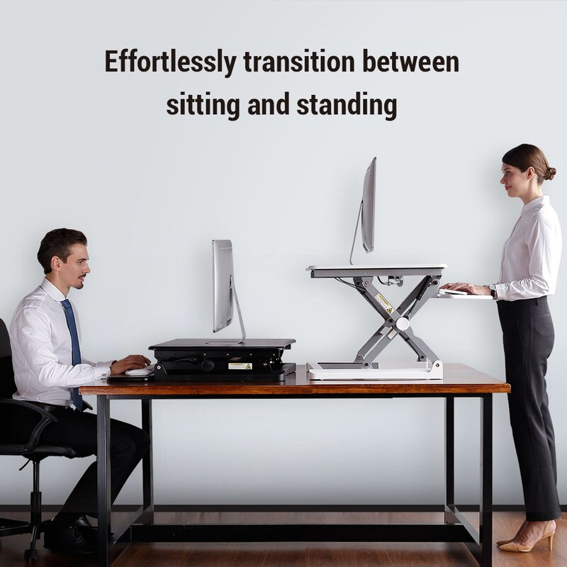 "27/"" Wide Platform Standing Desk Sit Stand Desk with Removable Keyboard M1B"