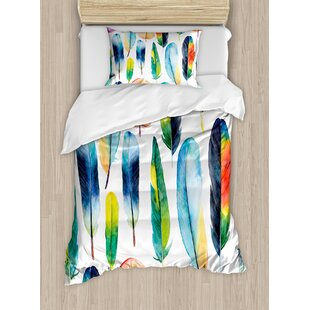 Colorful Watercolor Feathers Hand Drawn Pattern Birds Animals Theme Artistic Ilration Duvet Cover Set