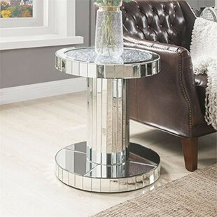 Shunk Round Wood and Glass End Table by Orren Ellis