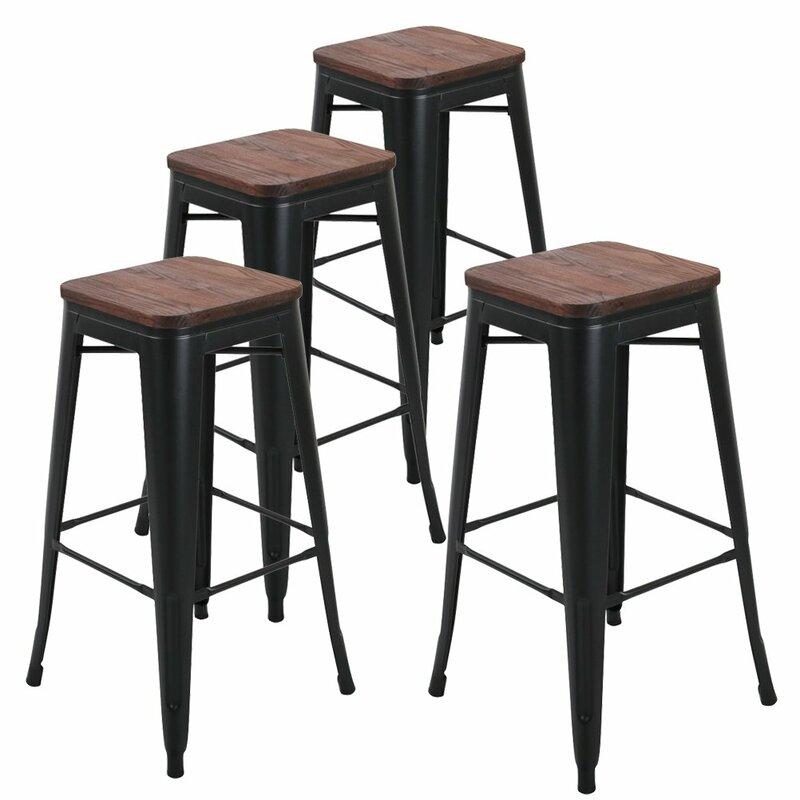 Metal Bar Stools Wooden Seat