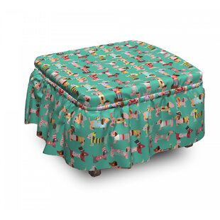 Dog Lover Abstract Dress 2 Piece Box Cushion Ottoman Slipcover Set By East Urban Home