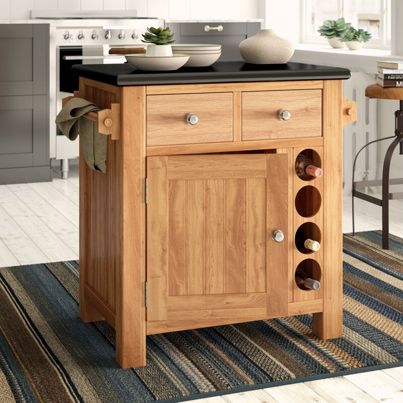 hazelwood home kücheninsel creamer mit granitplatte