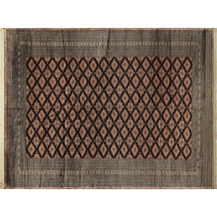 Find Sinclair Hand-Knotted Wool Black/Light Brown Area Rug By Isabelline