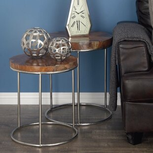 Low priced Teak/Stainless Steel 2 Piece End Table Set By Cole & Grey