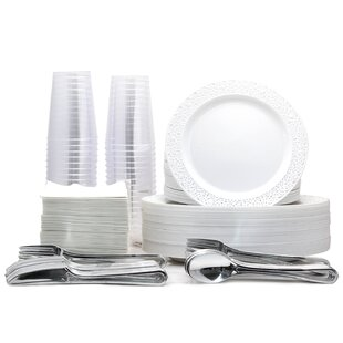 180 Piece Disposable Plastic Tableware Set
