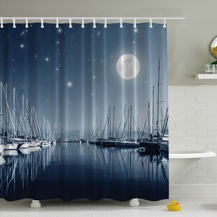 Pier in a Moonlight Print Single Shower Curtain