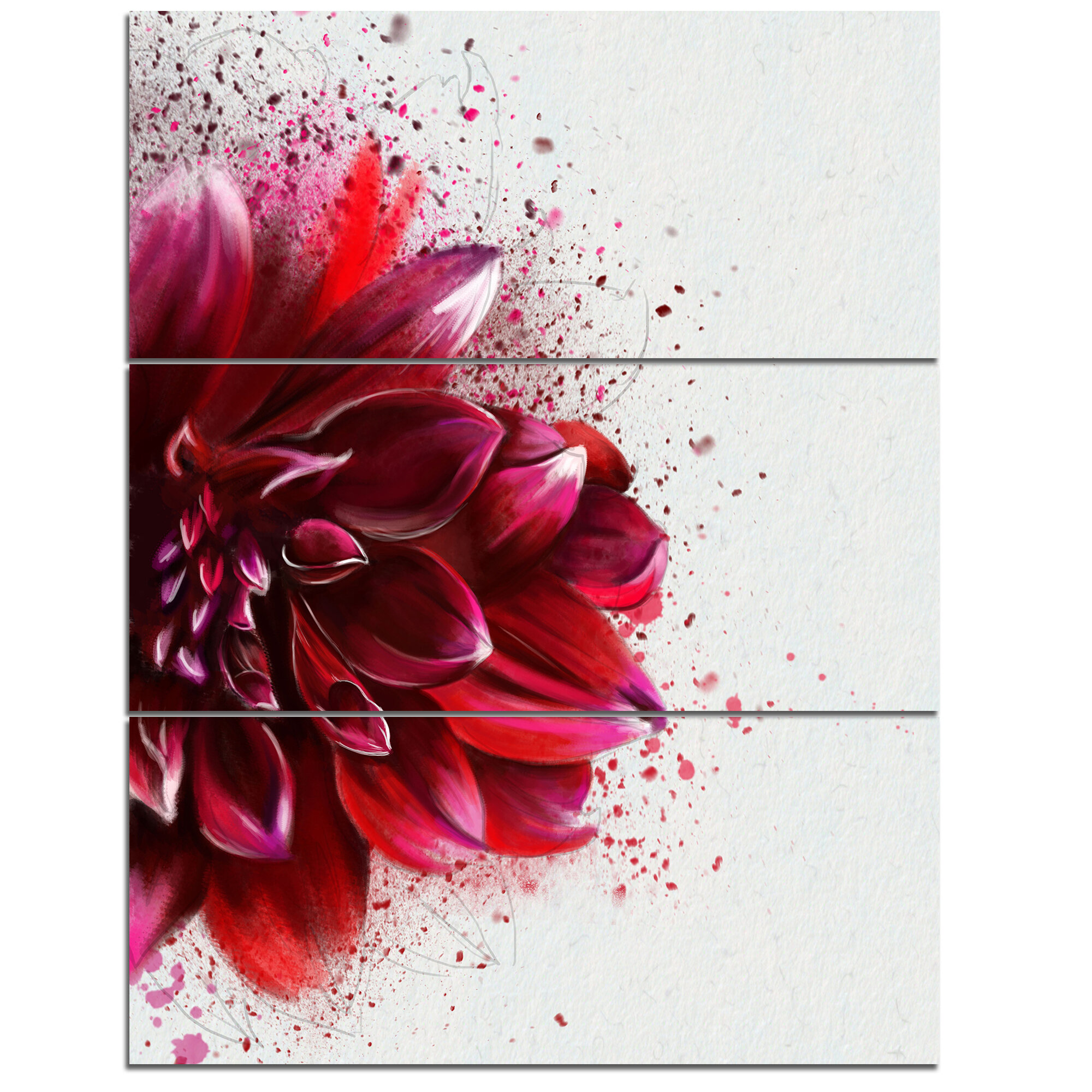 Designart Dark Red Watercolor Rose Flower 3 Piece Graphic Art On Wrapped Canvas Set Wayfair