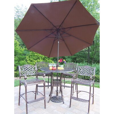 Zofia 5 Piece Bar Height Dining Set With Umbrella by Charlton Home Spacial Price