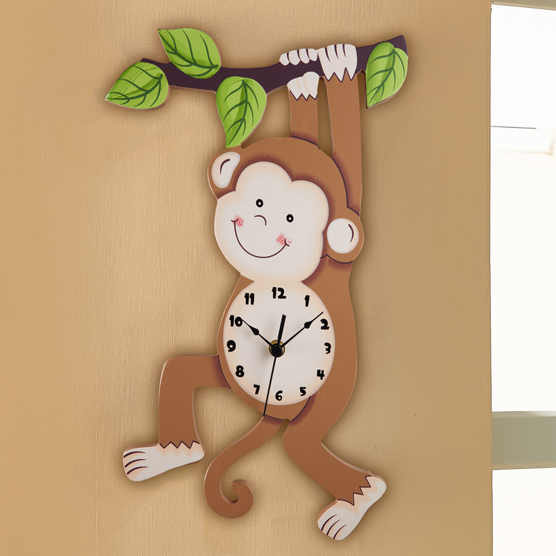 office large size floor clocks wayfair. Fantasy Fields Sunny Safari Monkey Wall Clock Office Large Size Floor Clocks Wayfair