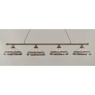 Mendez 4-Light Royal Merlot Tiffany Shade Billiard Light by Red Barrel Studio