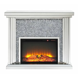 Albro Wood and Mirror Electric Fireplace by Everly Quinn SKU:AB783403 Buy