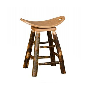 Orrie Hickory 24 Swivel Saddle Stool Millwood Pines