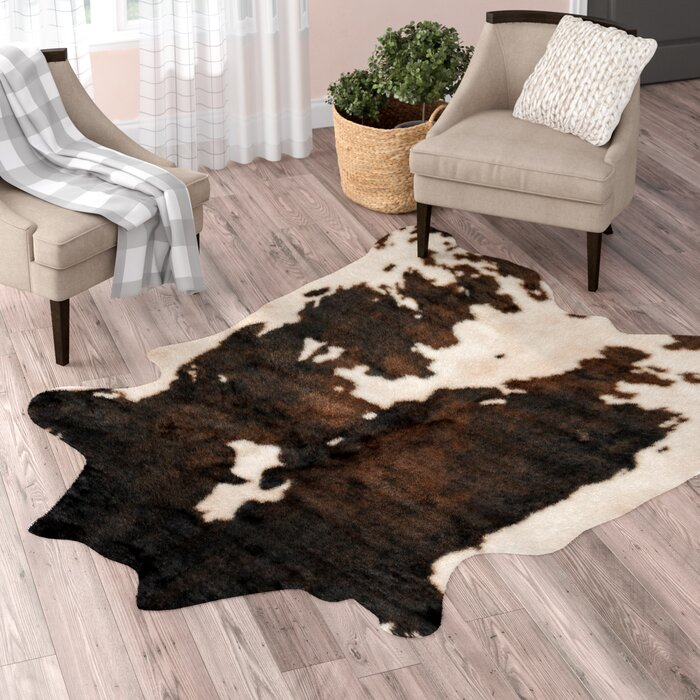 Binx Faux Cowhide Beige Brown Area Rug
