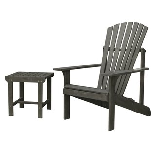 Densmore Patio Solid Wood Adirondack Chair with Table