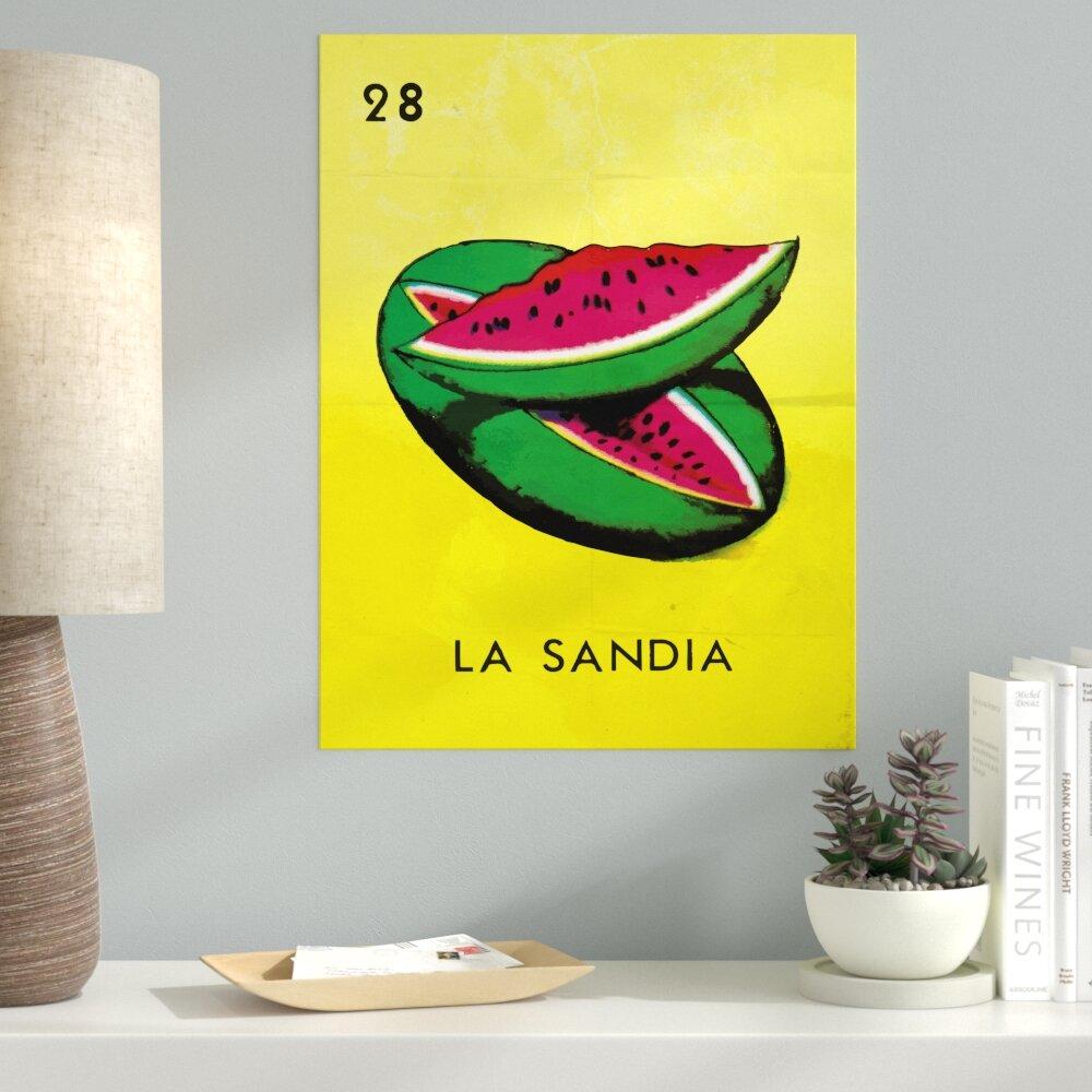 Ebern Designs \'La Sandia Watermelon\' Graphic Art Print on Canvas ...