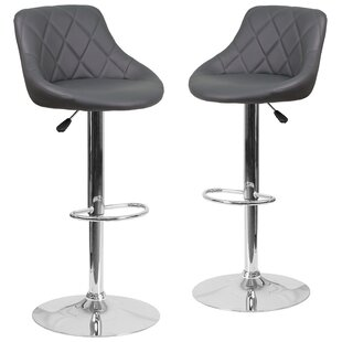 Fleur Adjustable Height Swivel Bar Stool (Set of 2) Wrought Studio