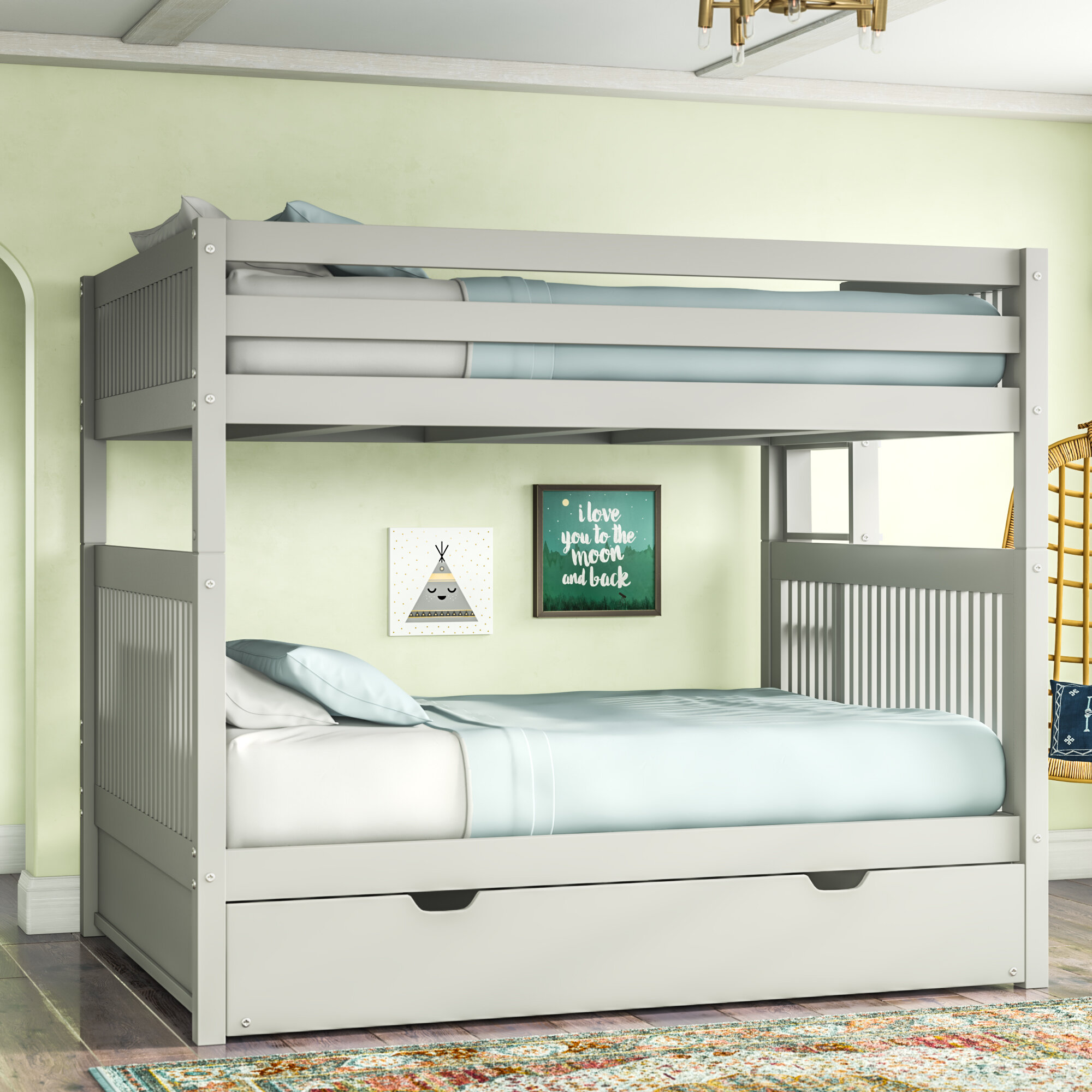 Harriet Bee Rabon Full Over Full Solid Wood Standard Bunk Bed With Trundle By Harriet Bee Reviews Wayfair