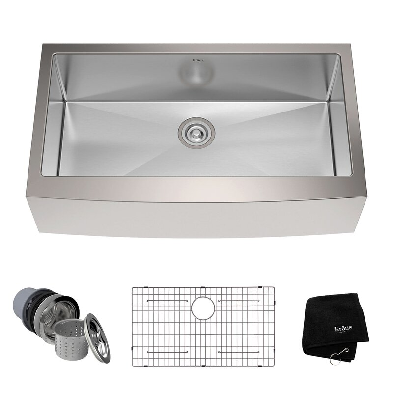 36   x 21   farmhouse kitchen sink with drain assembly kraus 36   x 21   farmhouse kitchen sink with drain assembly      rh   wayfair com