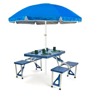 Portable Folding Picnic Table 6.5' Beach Umbrella