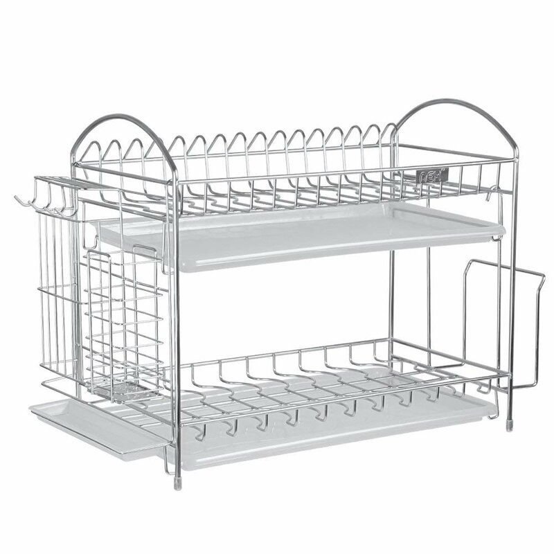 Haitral Nex Stainless Steel With Chopstick And Utensil Holder 2 Tier Dish Rack Reviews Wayfair