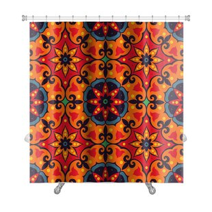 Delta Oriental Traditional Floral Ornament, Moroccan Pattern Premium Single Shower Curtain