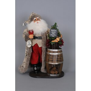 Christmas Lighted Wine Barrel Santa Figurine